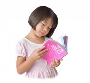 child asian reading nutritional book