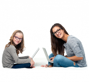 girls with computers | pediatric eye exam san jose ca