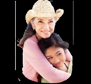 senior woman asian girl hug
