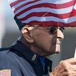 USA Army Veteran senior with flag