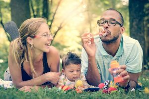 Family enjoying time together after eye exams