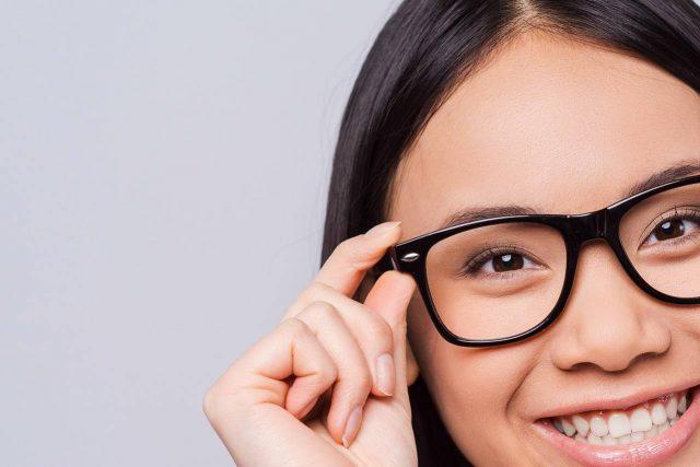 asian girl 20s happy eyewear close up