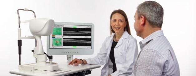 Optometrist,Man getting eye exam with iVue in Bozeman, MT
