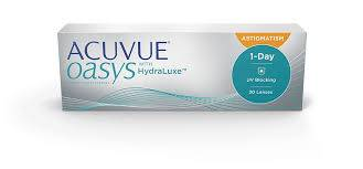 Optometrist, box of 1 Day Acuvue Oasys for astigmatism contact lenses in Lancaster, OH