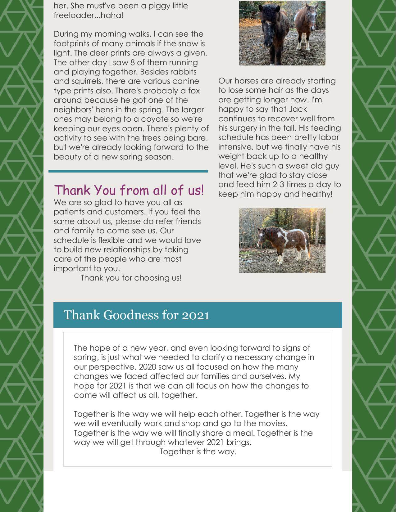 Winter Update and Newsletter -page 2 in Lancaster, Ohio