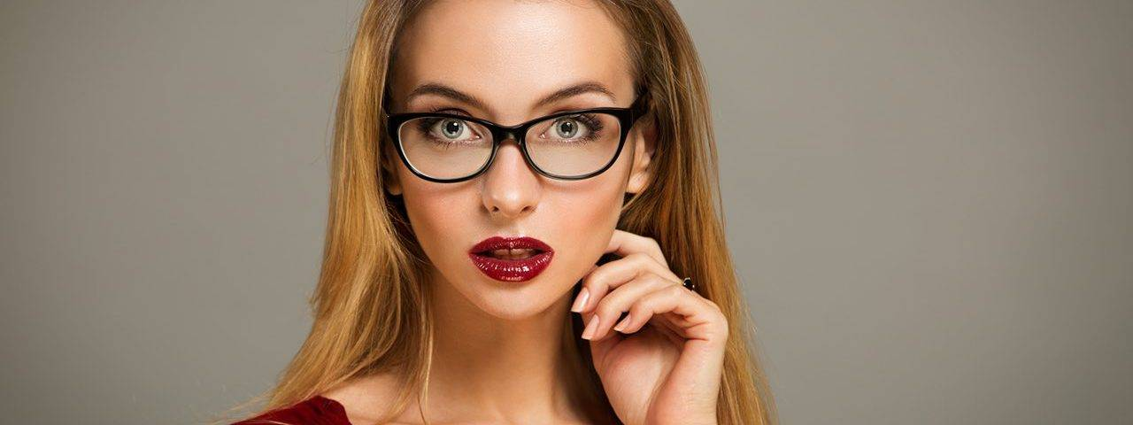 Beautiful Woman with Red Lipstick and Eyeglasses in Ajax