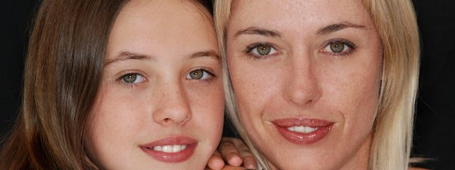 Eye care, mother and daughter wearing contact lenses in Burnaby, British Columbia