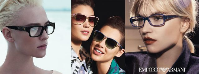 Eye doctor, women wearing Emporio Armani eyeglasses in Houston, TX
