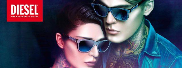 Eye Exam, man and woman wearing Diesel sunglasses in Houston, TX