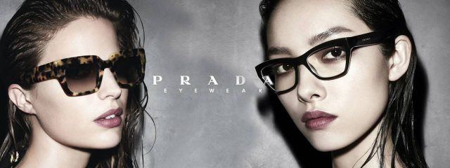 Eye doctor, woman wearing Prada eyeglasses in Houston, TX
