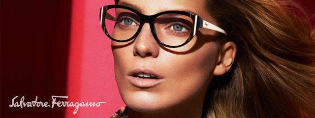 Eye doctor, woman wearing Salvatore Ferragamo eyeglasses in Houston, TX