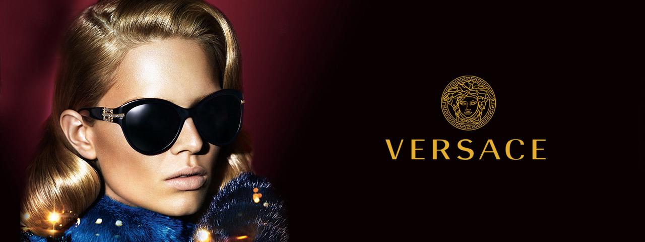 Eye doctor, woman wearing Versace sunglasses in Houston, TX