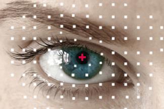 Eye doctor, woman eye with something her eye in Houston, TX