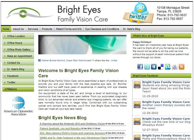 Bright Eyes Family Vision Care Webpage