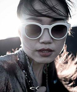 Model wearing Black Fin sunglasses