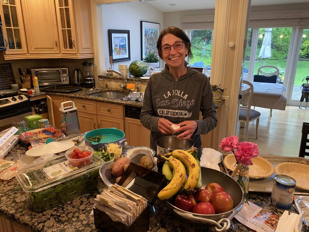 Judy Kestenbaum making quiche in Plainview, NY