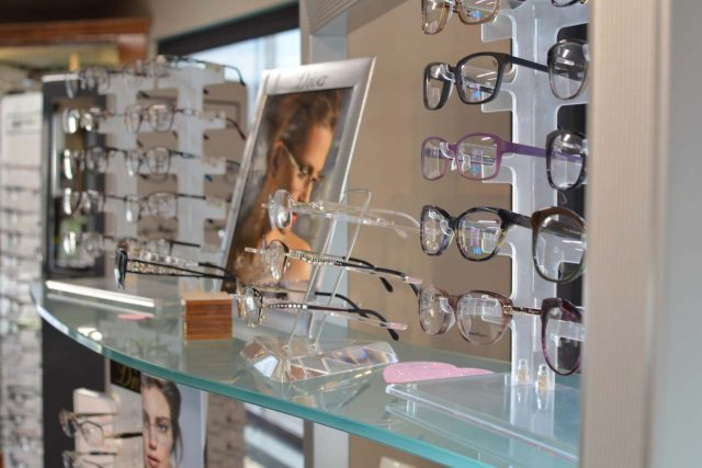 row of glasses at century eye care in tacoma wa