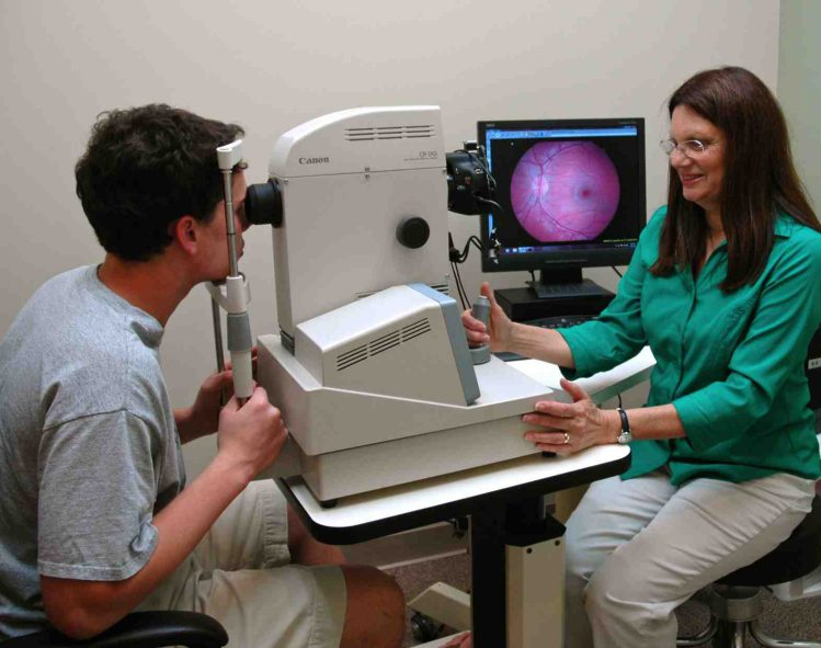 dr arcolano during a comprehensive eye exam