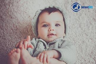 Eye exam, baby looking at camera in Columbus, Ohio
