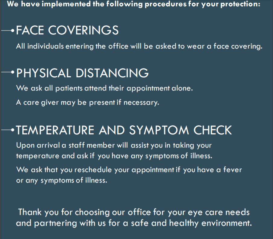 Safety Precautions We Will Be Taking In Our Eye Care Practice in Columbus, Ohio
