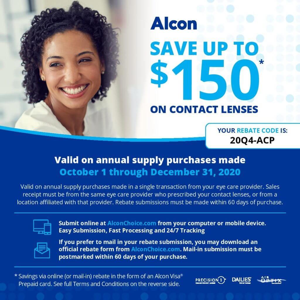 Alcon Contact Lens 2020 Rebate page