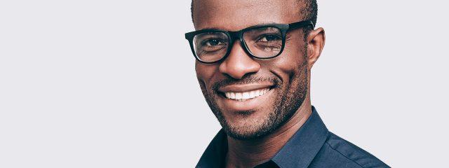 Eye doctor, african american man wearing eyeglasses in Austin, TX