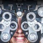 Eye exam, woman needs prescription for contact lens in Austin, TX.