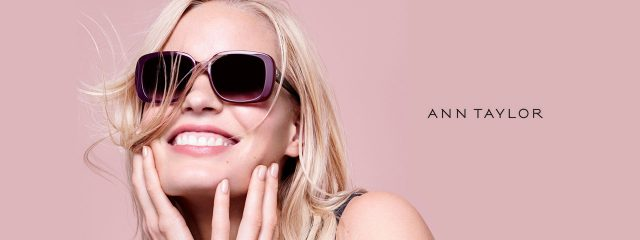 Eye doctor, woman wearing Ann Taylor sunglasses in Winnipeg, MB