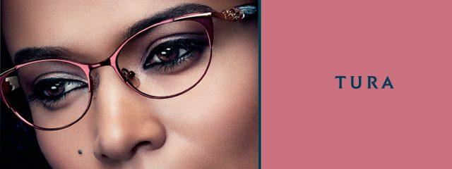 Eye doctor, woman wearing Tura eyeglasses in Winnipeg, MB