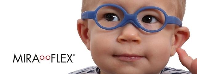 Eye doctor, little boy wearing Miraflex eyeglasses in Winnipeg, MB