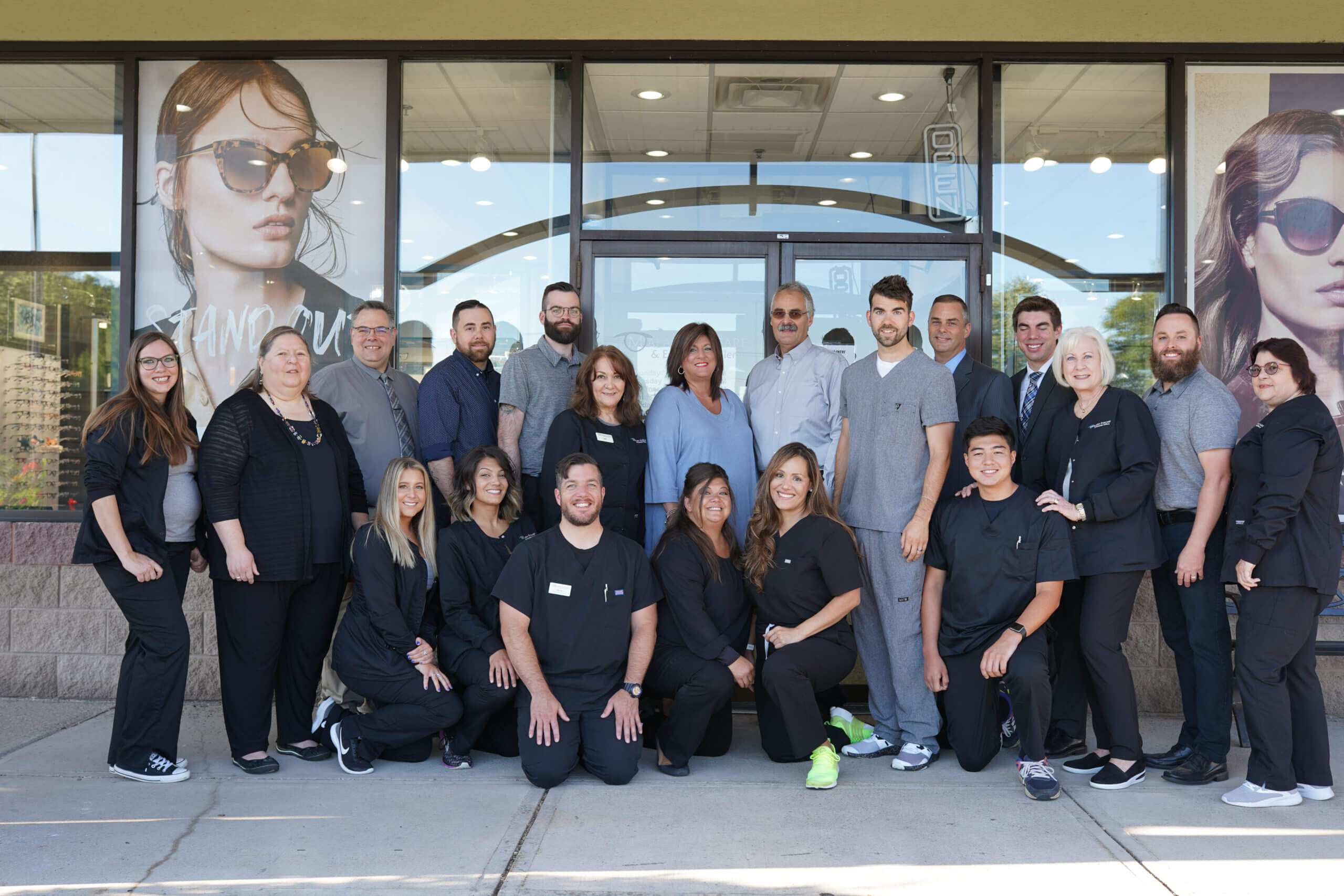 optometrist and staff at Malara Eyecare and Eyewear Gallery in Liverpool