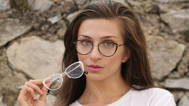 girl with two pair of glasses