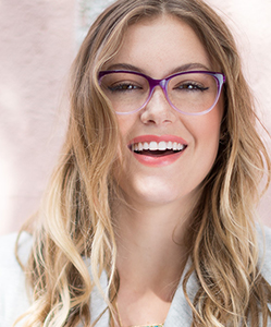 Eye exam, Model wearing ECO eyeglasses in Hattiesburg, MS