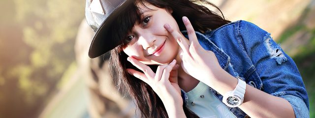 Girl Showing Off Contact Lenses in Orange, TX