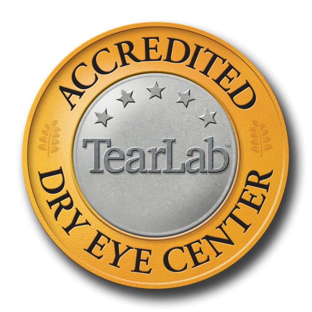 Accredited Dry Eye Center Tear Lab Logo with Yellow and Grey Circle