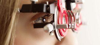 Close-up of woman having eye exam
