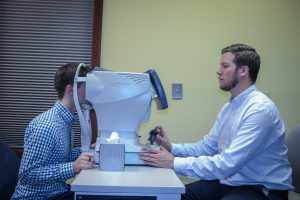 Eye Doctor giving a visual field test in Frisco, CO
