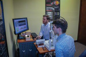 Eye doctor giving eye exam in Frisco, Breckenridge and Silverthorne, CO