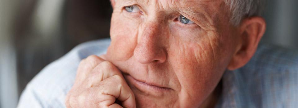 Eye doctor, pensive senior man in Frisco, CO