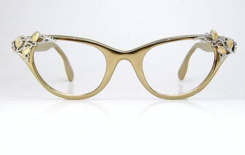 Vintage Cat Eye Glasses Frame gold with jewels Pictures