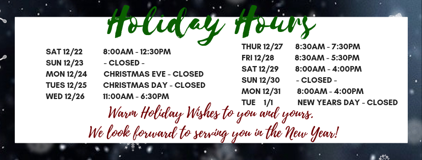 2018 Holiday Hours cover