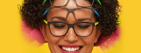 Eye doctor, woman wearing Morel eyeglasses in Milton, ON