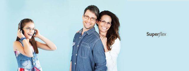Eye doctor, girl, man and woman wearing Superflex eyeglasses in Milton, ON