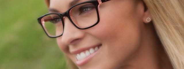 Eye doctor, woman wearing Skechers eyeglasses in Milton, ON