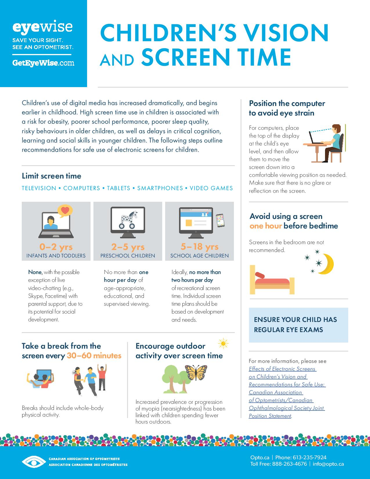 childrens vision and screen time - Mississaugua & Milton, ON