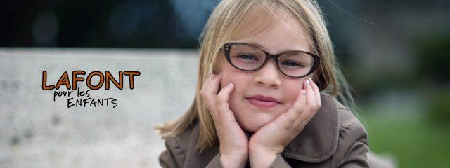 Eye doctor, little girl wearing LaFont kids eyeglasses in Milton, ON