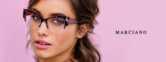 Eye doctor, woman wearing Marciano eyeglasses in Milton, ON