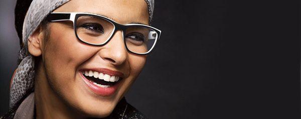 Eye doctor, woman wearing Nomad eyeglasses in Milton, ON