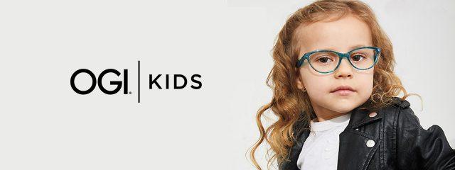 Eye doctor, little girl wearing Ogi Kids eyeglasses in Milton, ON
