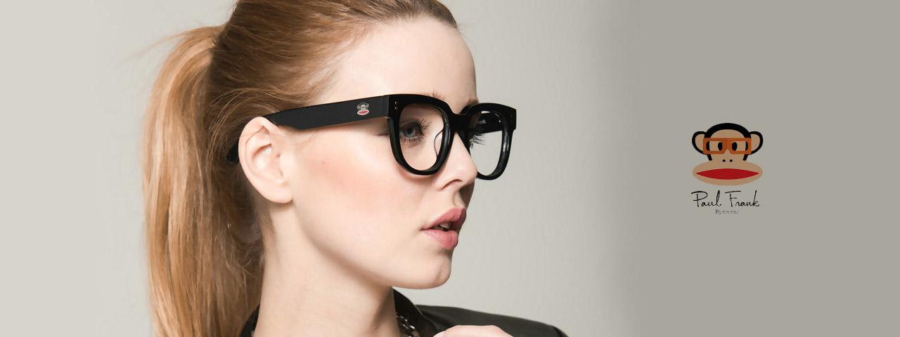 Eye doctor, woman wearing Paul Frank eyeglasses in Milton, ON